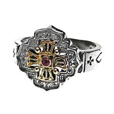 Gerochristo 2756 ~ Solid Gold, Sterling Silver &  Tourmaline Medieval Cross Ring