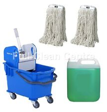 More details for professional kentucky mop bucket set - with 2 mop heads & mopping liquid