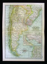 1902 Century Map - Argentina Chile Uruguay Buenos Aires Paraguay - South America