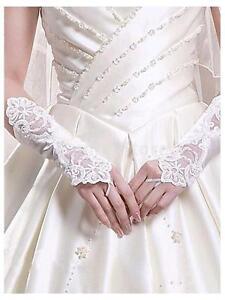 white satin lace pearl fingerless wedding gloves