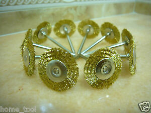 10 Brass Wire Rotary 25mm round FLAT BRUSH Cups Fits Dremel Tools