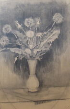 ANTIQUE DRAWING FLOWERS IN A VASE