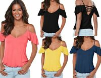 Womens Off The Shoulder Gypsy Camisole Spaghetti Holiday Strap Top Plus Sz 10-20