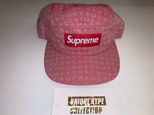 SUPREME 2015 S/S JACQUARD BOX LOGO CAMP CAP HAT 5 PANEL PINK USED PRE-OWNED