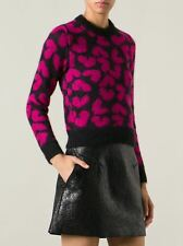 Saint Laurent coeur-intarsia cropped mohair-blend sweater s