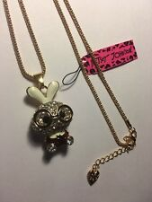 Betsey Johnson Cute Glasses Rabbit Crystal Pendant Sweater Chain Necklace-BJ6991