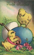Easter chick with mandolin playing for chick on egg artist postcard