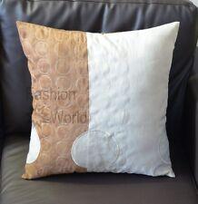 """Cream Beige Retro Circles Suede Cushion Cover 18"""" x 18"""" / 45cm x 45cm"""