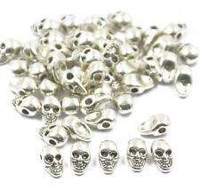 50x Metal Charm Skull Beads Findings For Jewelry Making