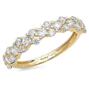 0.8ct Round Cut Designer Bridal Promise Wedding Anniversary Band 14k Yellow Gold