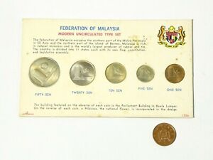 1967-1968 Uncirculated 5 Coin Set from Malaysia a/f grubby