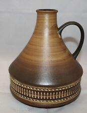 "Vintage West Germany Studio Art Pottery Brown Vase Jug 22cm 8 5/8"" Tall 324-21"