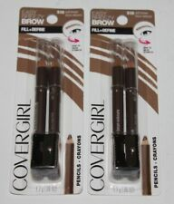 LOT (2) COVERGIRL EASY BREEZY BROW FILL DEFINE EYELINER PENCILS #510 SOFT BROWN