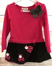 Bonnie Jean Girls Pink Black Size 5 Long Sleeves Lady Bugs Polka Dot Bow LBB76