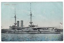 British Pre-Dreadnought Battleship H.M.S. Ocean original postcard World War 1