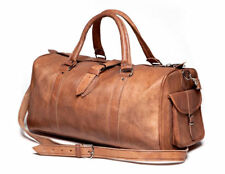 MEN'S VINTAGE GENUINE LEATHER HOLDALL TRAVEL WEEKEND CABIN SPORTS DUFFEL BAG TAN
