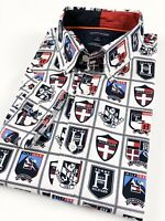 TOMMY HILFIGER Shirt Men's Crisp Poplin White Allover Crest Print Custom Fit