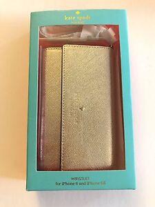 NIB Kate Spade Cedar Street Metallic Gold Wristlet iPhone 8 7/s 6/s Case, Mirror