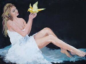 YARY DLUHOS ORIGINAL ART OIL PAINTING Woman Recline Figure Girl Bird White Dress