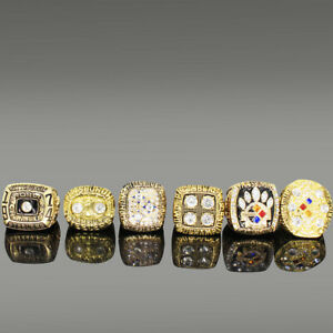 Pittsburgh Steelers Super Bowl Rings Size 11 In wood Box 6 Championship Ring Set