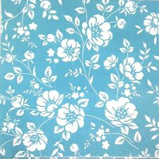 3 x Single Paper Napkins For Decoupage Craft Tissue Teal Blue White Flowers M112