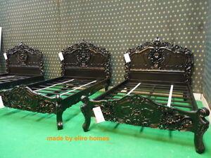 BESPOKE BLACK Gothic Oriental Style Rococo bed