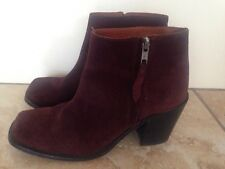 Office Ankle Dark Red Burgundy Suede Boots Size 39 Free UK P&P
