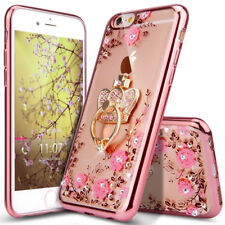 Luxury Glitter Crystal Plating Butterfly Bling Diamond Clear TPU Case Cover Ring Samsung Galaxy A3 2017 A320 Transparent