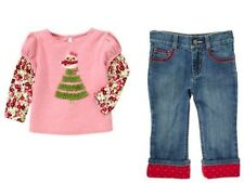 Gymboree Cozy Owl Pink Tree Flower Tee Top Red Heart Cuff Jeans Girls 4T NEW NWT