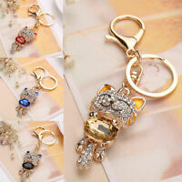 Crystal Rhinestone Cat Keychain Keyring Key Ring Chain Bag Charm Gifts X5D4