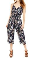 Trixxi Jumpsuit Pink Blue Size Small S Junior Cropped Floral Surplice $49 358