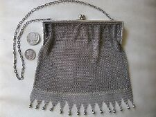 Antique Art Nouveau Deco Engraved STERLING SILVER Frame Ball Tassel Mesh Purse