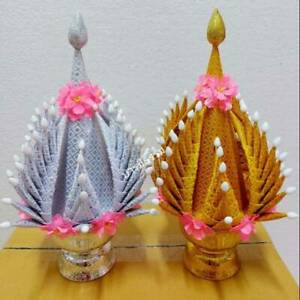 Gold&Silver Folded Tat Fabric Leaf Ornament Buddha Artificial Thai Rice Offering