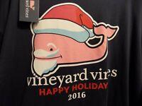 Vineyard Vines Men's Long-Sleeve 2016 Santa Whale Pocket T-Shirt Size - XL Blue