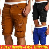 Men's Destroyed Ripped Denim Pants Straight Slim Fit Casual Short Jeans Trousers