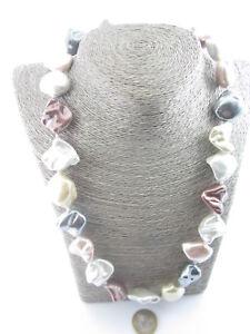 collana  perle maiorca  semi grezze irregolari mix color  lunga cm 60