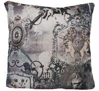 Gothic Cushion Cover Armour Knight Leon Sword Horse Black Grey Fabric