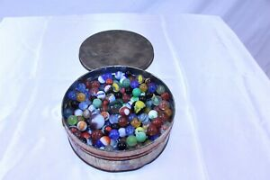 """Vintage Fruit Cake Tin Full Of Mixed Marbles 7"""" x 2"""" Tin 4# 7oz"""