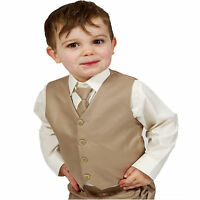 Boys Suits 4 Piece Beige Waistcoat Suit Wedding Page Boy Baby Formal Party Smart