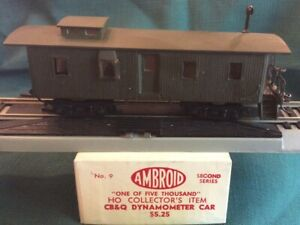 Vintage, AMBROID HO  No. 9, 1 of 5000, CB & Q Dynamometer Car BUILT KD's