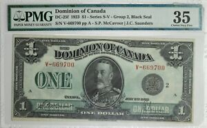 1923 Dominion Of Canada $1 Series S-V PMG Choice VF35  Item#T7225