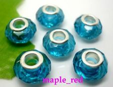 50pcs Teal Faceted crystal-clear Resin Beads Fit European Charm DIY Bracelet