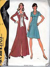 McCall's #3703 1973 Misses Dress Pattern Size 18 Pounds Thinner Uncut Maxi Short