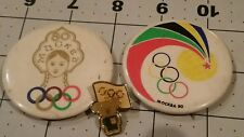 S1.13) Lot of 3 Vintage Olympic Games Moscow 1980 Misha Pin  and buttons Mockba