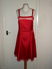 Kurt Muller Wedding Party Cocktail Red Dress Size UK 14 Christening Prom