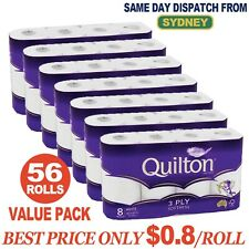 QUILTON TOILET PAPER TISSUE 56 ROLLS SOFT 3 PLY 180 SHEETS AUD 0.80 cents/roll