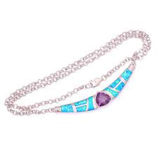 """Blue Fire Opal Amethyst Silver Women Jewelry Gems Necklace Pendant 16 1/2"""" OL46"""