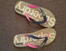 Superdry Flip Flops Grey Black Pink Size Medium