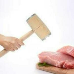 Aluminium & Wood Metal Meat Mallet Tenderizer Steak Beef Chicken Hammer Kitchen