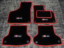 Black/Red Car Mats to fit Audi A3 8P (2003-2012) + S-Line Logos (x4) + Fixings